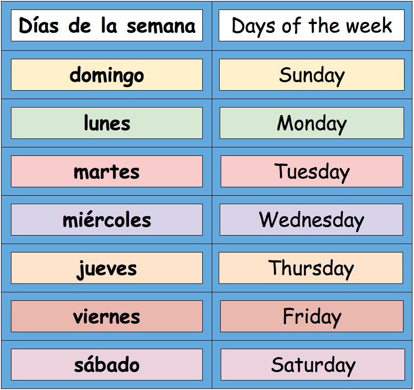 Calendar Days Of The Week In Spanish.1 1e Calendar Spanish 1